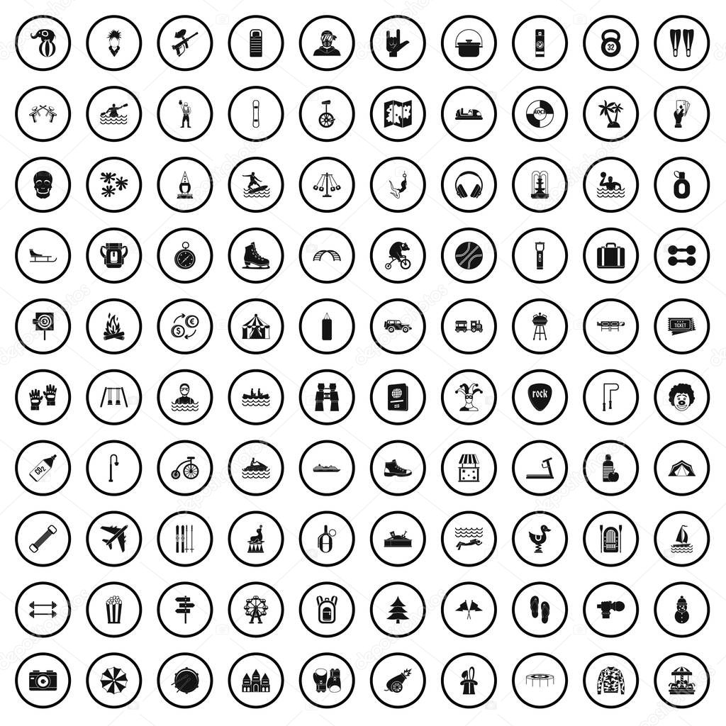 100 leisure activity icons set, simple style