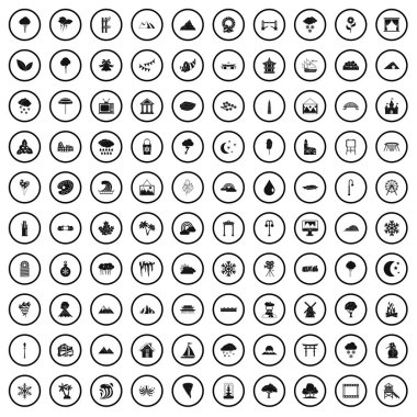 100 scenery icons set, simple style