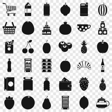 Different drinks icons set, simple style