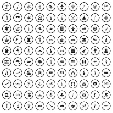 100 top hat icons set, simple style