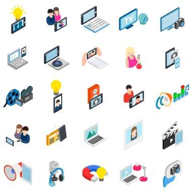 Online photography icons set, isometric style