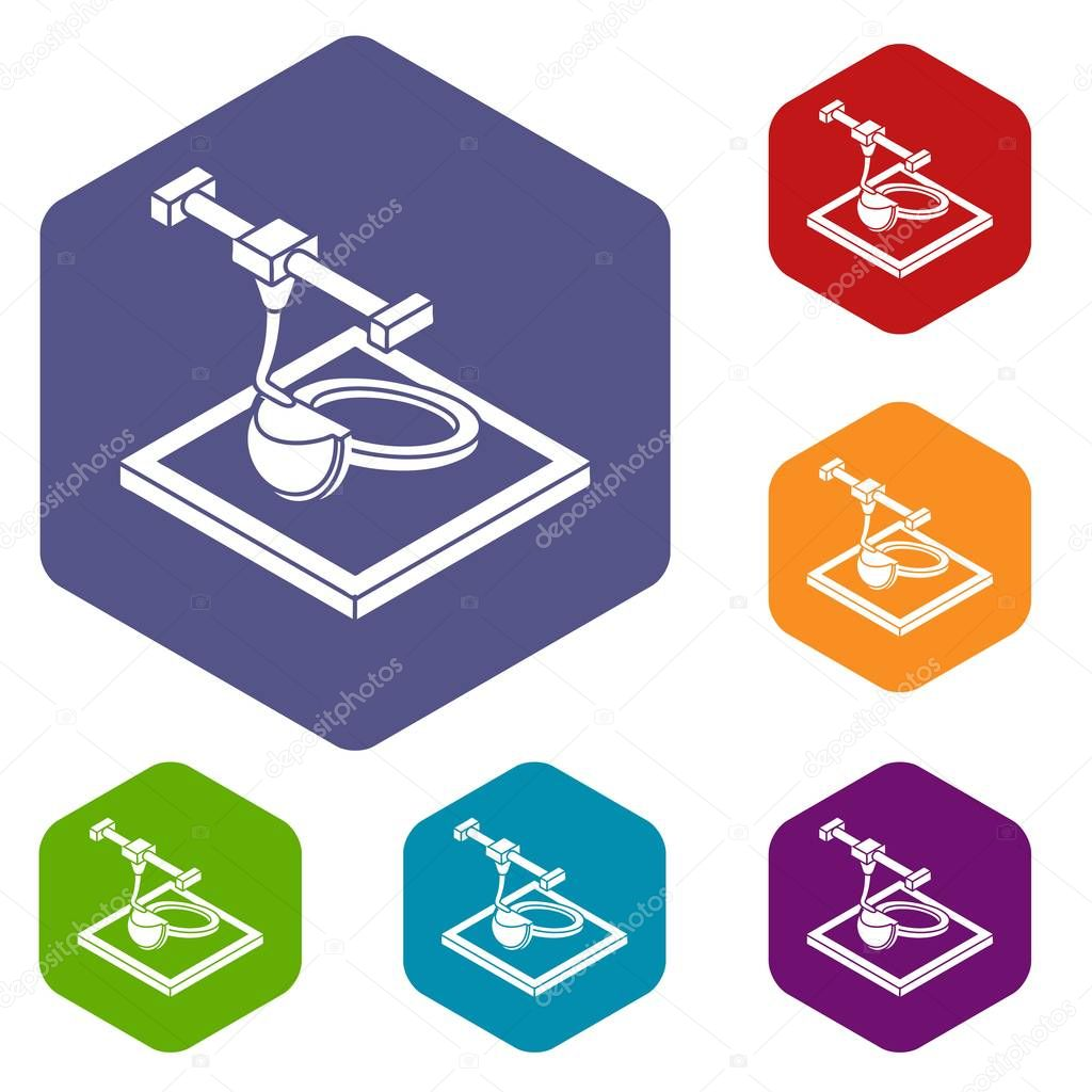 Ring d printing icons vector hexahedron