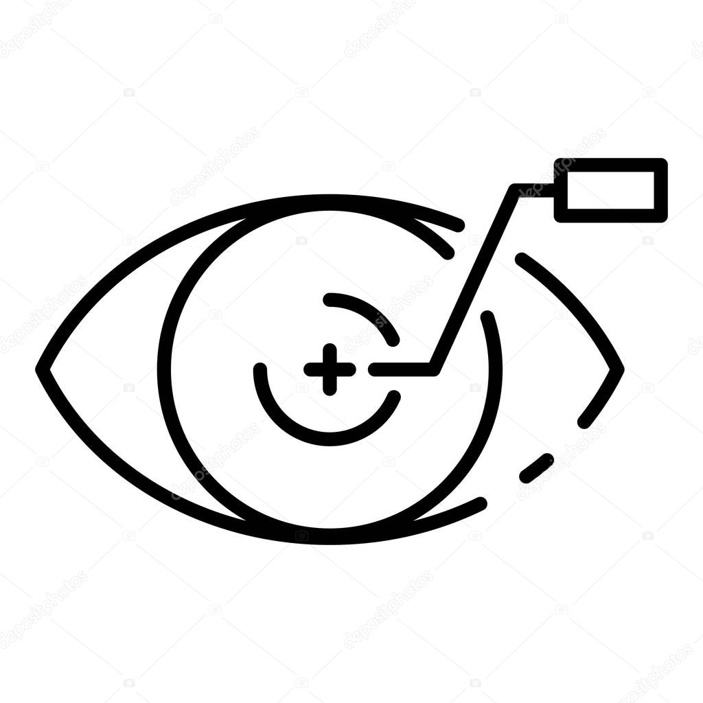 Plus contact lens icon, outline style