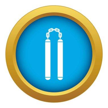 Nunchaku icon blue vector isolated
