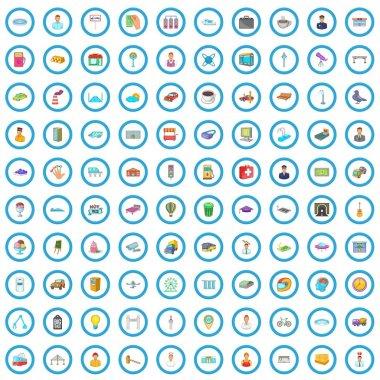 100 megapolis icons set, cartoon style