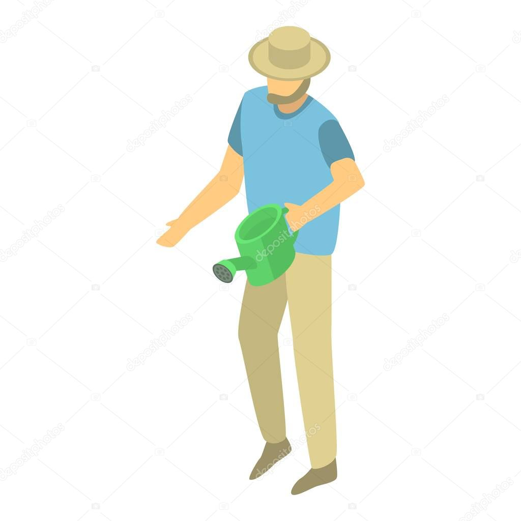 Man use watering can icon, isometric style