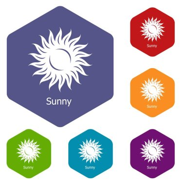 Sunny icons vector hexahedron