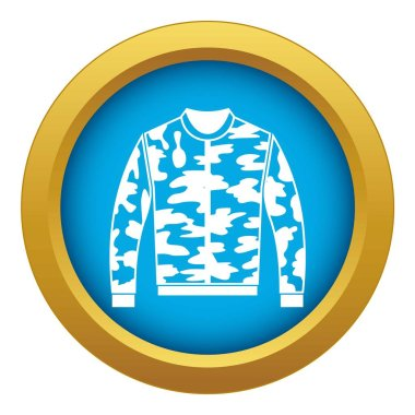 Camouflage jacket icon blue vector isolated