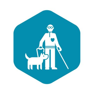 Invalid person with dog icon, simple style