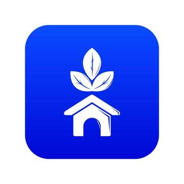 Eco house icon blue vector