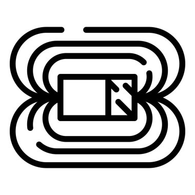 Magnetic field icon, outline style