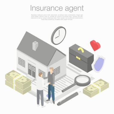 Insurance agent concept background, isometric style