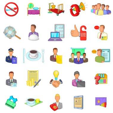 Working process icons set, cartoon style