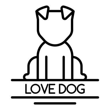 Love dog logo, outline style
