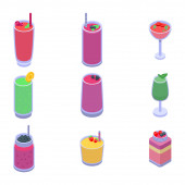Smoothie Icons Set, isometrischer Stil