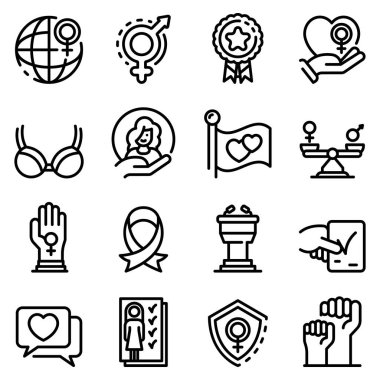 Empowerment icons set, outline style