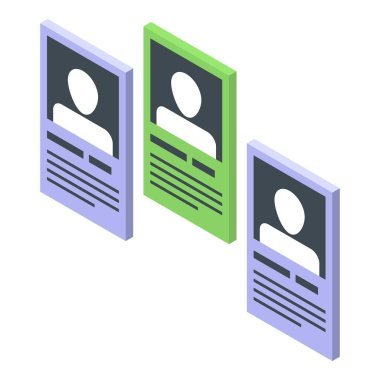 People card recruiter icon, isometric style