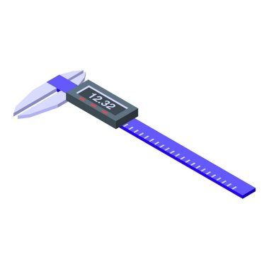 Blue digital caliper icon, isometric style