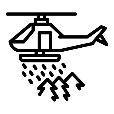 Rescue forest helicopter icon. Outline rescue forest helicopter vector icon for web design isolated on white background icon