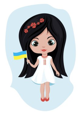 On a blue background there is a cute Ukrainian girl with long dark hair and big eyes. The girl holds the Ukrainian flag in her right hand. Ukraine. Vector image.