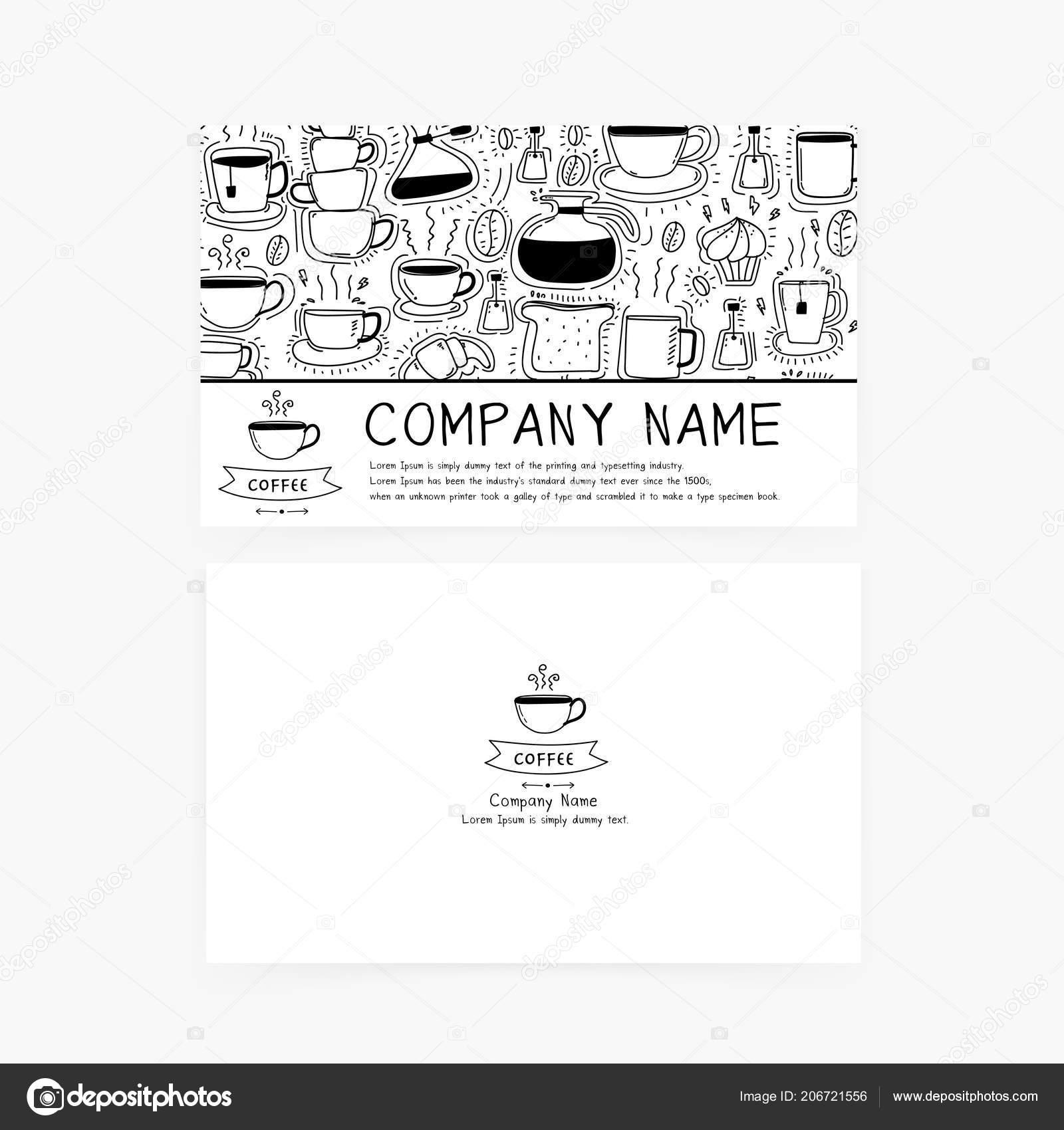 Visitenkarten Mit Handgezeichneten Doodle Kaffee Symbole Für