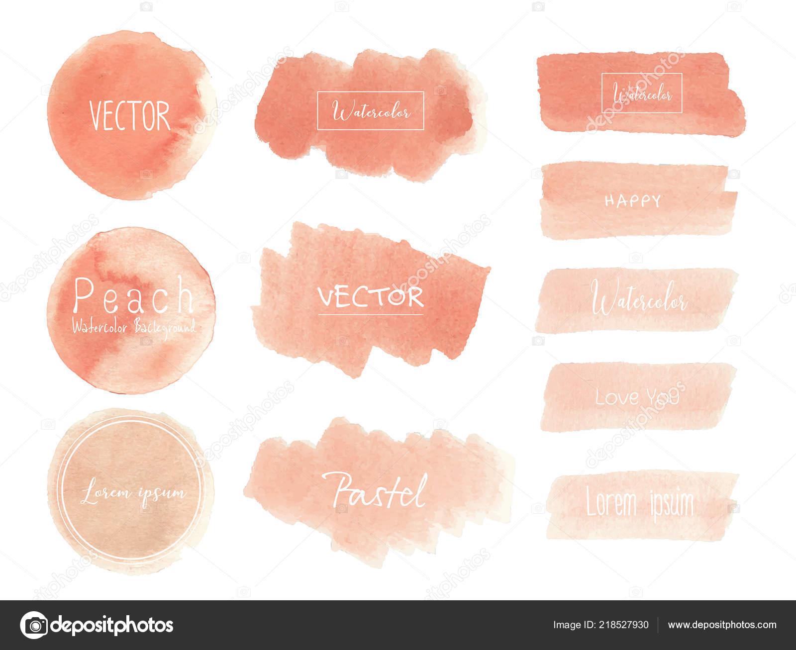 Peach Watercolor Background Pastel Watercolor Logo Vector