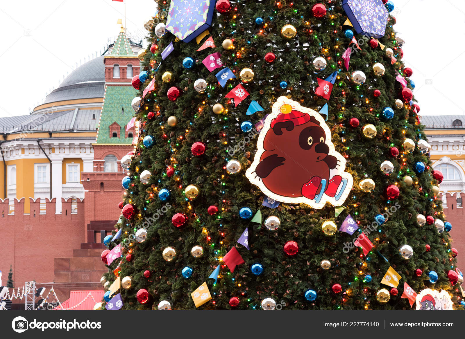 Russia Christmas Ornaments.Moscow Russia November 2018 New Year Christmas Decorations
