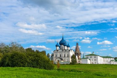 Panoramic view of The Suzdal Kremlin in Suzdal, Russia. The Golden Ring of Russia