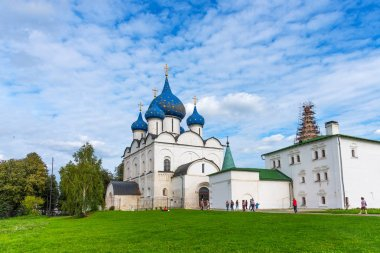Suzdal, Russia - August, 24 2019: Panoramic view of The Suzdal Kremlin in Suzdal, Russia. The Golden Ring of Russia