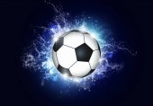 active sport blue background with a football soccer ball