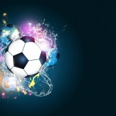 abstract sport background with a football soccer balls