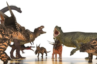 battle of different dinosaurs on a chessboard 3d illustration