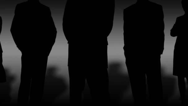 black silhouettes of a group of serious people symbolizing doing business