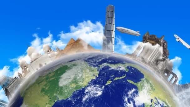 Der rotierende Planet Erde mit einem Wahrzeichen
