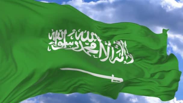 Flagge weht im Wind gegen den blauen Himmel saudi arabien