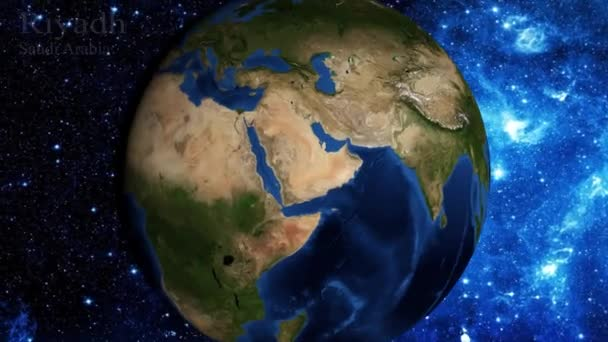 zoom in from space and focus on Saudi Arabia  Riyadh