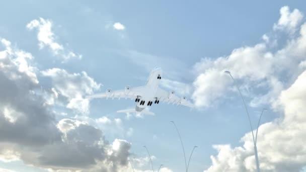 Svatá Lucie, přístup letadlo přistát v nízko cloud počasí, letící nad jméno země a jejich vlajky