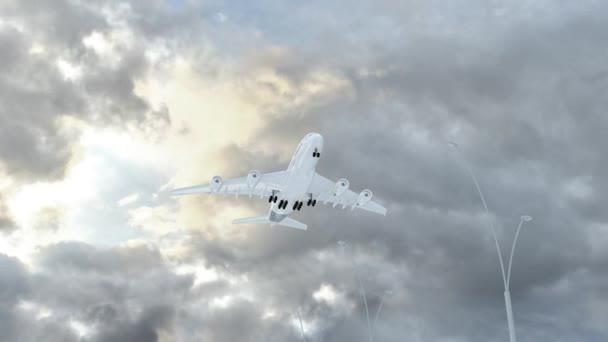 Svatá Lucie, přístup letadlo přistát v počasí loudy, letící nad jméno země a jejich vlajky