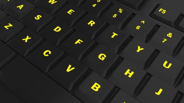 pointing the camera on yellow glowing Answer key on black computer keyboard