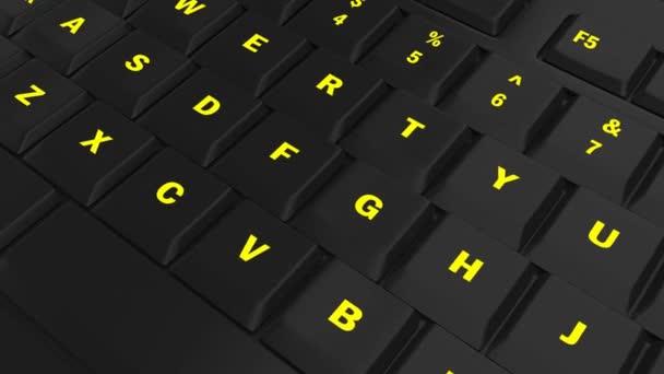 fotoaparát průlet černé klávesnice a zaměření na tlačítko žlutá zářící opatření v okamžiku jeho lisování