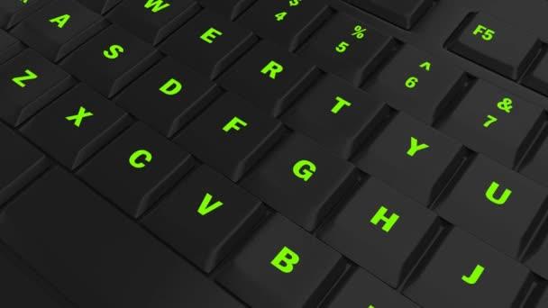 fotoaparát průlet černé klávesnice a zaměřit se na zelenou zářící žádost tlačítko v okamžiku jeho lisování