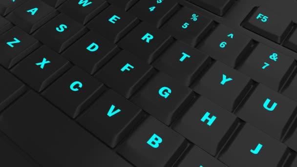 fotoaparát průlet černé klávesnice a zaměřit se na modrý svítící tlačítko přihlásit v okamžiku jeho lisování