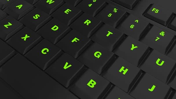 fotoaparát průlet černé klávesnice a zaměřit se na zelené svítící tlačítko v okamžiku jeho lisování