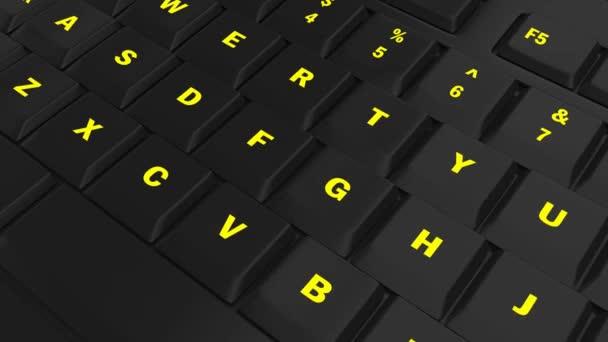 fotoaparát průlet černé klávesnice a zaměřit se na žluté svítící tlačítko Test v okamžiku jeho lisování
