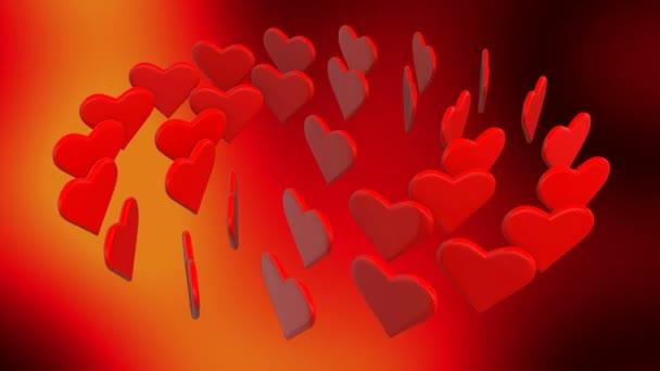 červené srdce, které tančí v kruhu na dynamické tmavě červeném pozadí