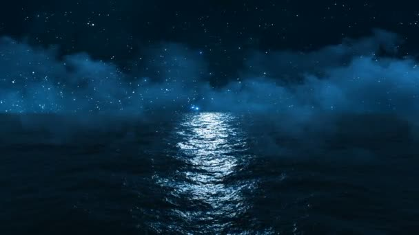 dark blue ocean with moonlight reflected in it against the starry sky and clouds passing above it