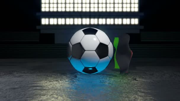 Afghanistan flag flies around a soccer ball revolving around its axis