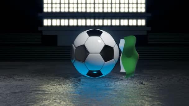 Algeria flag flies around a soccer ball revolving around its axis