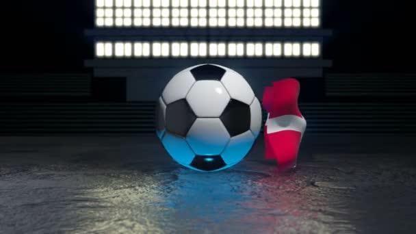 Dänemark-Fahne weht um einen Fußball, der sich um die eigene Achse dreht