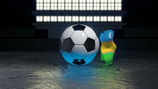 Karakalpakstan flag flies around a soccer ball revolving around its axis